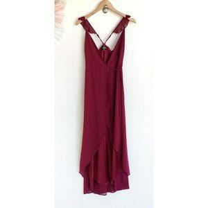 Lulu's Burgundy Here's To Us Wrap Maxi Hi Lo Dress